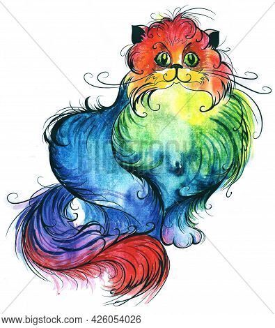 Fluffy Cat, Painted With Multicolored, Rainbow, Bright Watercolor Paint.