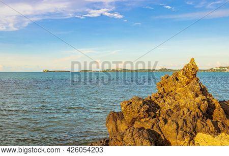 Koh Samui Island Beach Coast Rocks Forest Landscape Panorama Thailand.