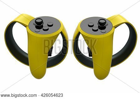 Virtual Reality Yellow Controllers For Online And Cloud Gaming On White Background. 3d Rendering Of