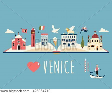Tourist Poster With Famous Destinations And Landmarks Of Venice