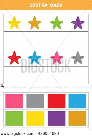 Sort By Colors. Cute Colorful Sea Stars. Learning Basic Colors For Kids.