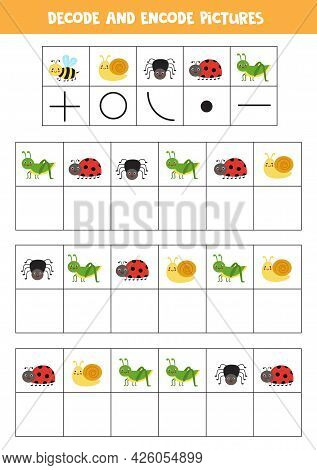 Decode And Encode Pictures. Logical Game With Cute Cartoon Insects.
