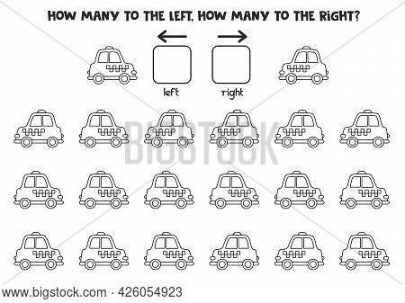 Left Or Right With Black And White Taxi Cab. Educational Game To Learn Left And Right.