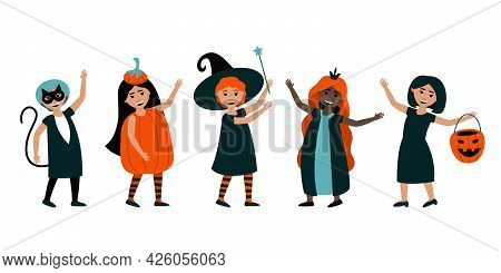 Set Of Isolated Children In Halloween Costumes. Cute Halloween Carnival Costumes Cat, Witches, Pumpk
