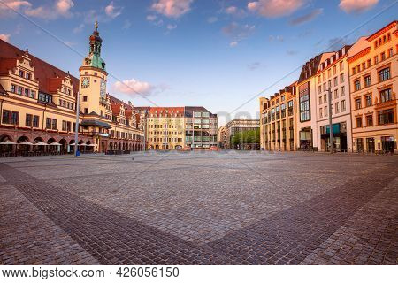 Leipzig, Germany. Cityscape Image Of Leipzig, Germany With Old Town Hall And The Market Square At Su