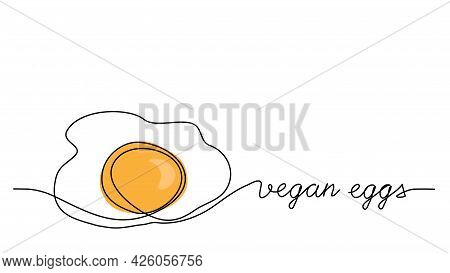 Vegan Eggs Vector Illustration. Eggs Protein Substitute, Vegetarian Replacement. One Line Drawing Ar