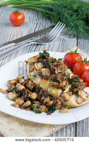 Grilled Chicken Breast With Fried Champignons