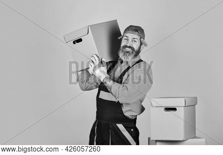 He Loves His Job. Cardboard Boxes. Moving To New House. Purchase Of New Habitation Or Repair Of Room