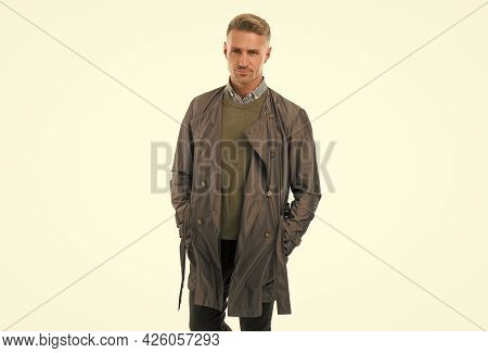 Handsome Unshaven Man In Casual Style Isolated On White, Male Beauty