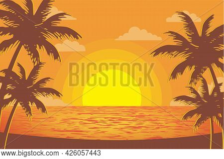 Palm Tree Silhouette Sunset View On Tropical Beach At Dusk. Palm Silhouettes On Summer Sunset With B