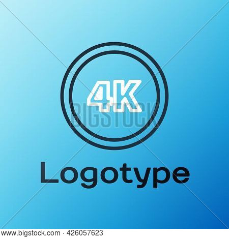 Line 4k Ultra Hd Icon Isolated On Blue Background. Colorful Outline Concept. Vector Illustration