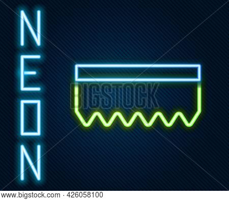 Glowing Neon Line Sponge Icon Isolated On Black Background. Wisp Of Bast For Washing Dishes. Cleanin