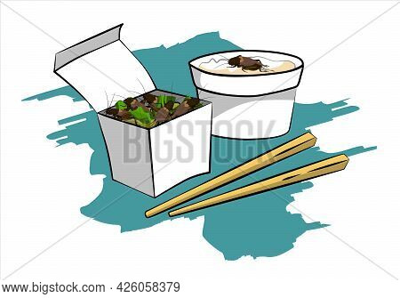 Crickets Insects For Eating As Food Deep-fried Crispy Snack And Chopstick In Paper Box For Take Out