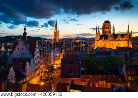 Amazing architecture of the main city in Gdansk at dusk, Poland.
