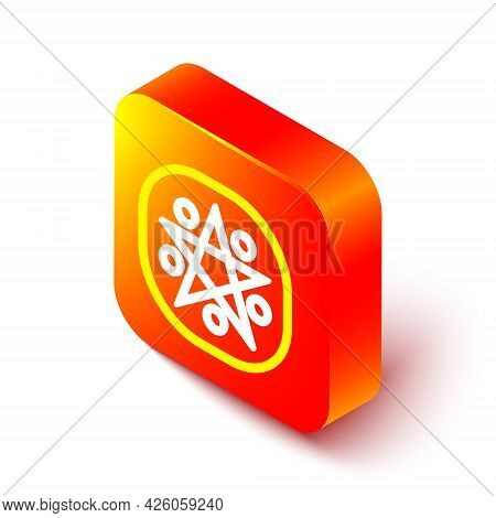 Isometric Line Pentagram In A Circle Icon Isolated On White Background. Magic Occult Star Symbol. Or