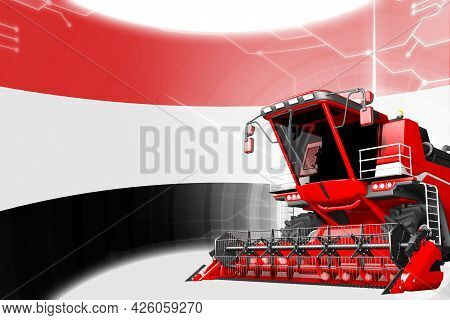 Digital Industrial 3d Illustration Of Red Advanced Grain Combine Harvester On Yemen Flag - Agricultu