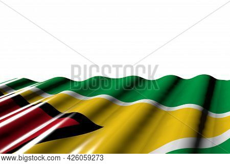 Nice Glossy Flag Of Guyana With Large Folds Lay At The Bottom Isolated On White - Any Feast Flag 3d