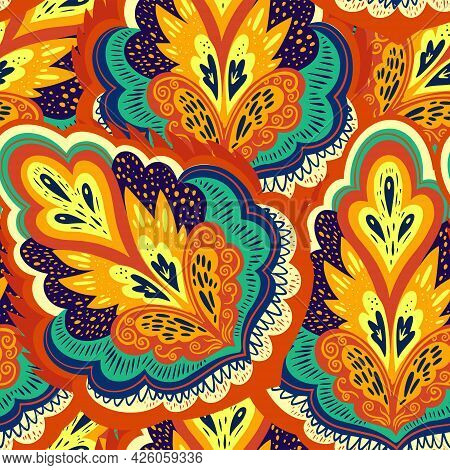 Colorful Psychedelic Ornamental Pattern With Abstract Lace Plant Elements.