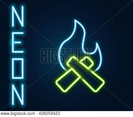 Glowing Neon Line Campfire Icon Isolated On Black Background. Burning Bonfire With Wood. Colorful Ou