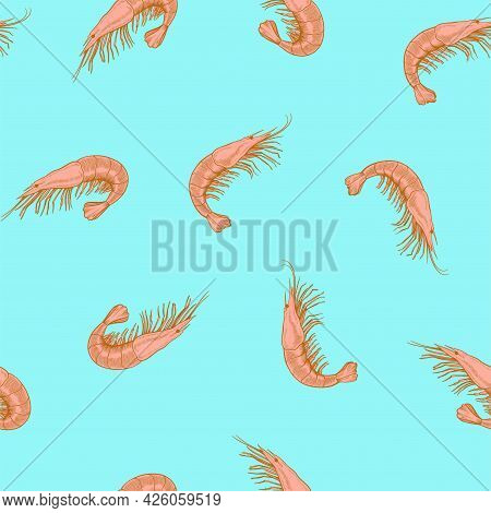 Seamless Pattern With Sea Food, Shrimp, Drawn In Vintage Engraving Style. Hand Drawing, Vector Illus