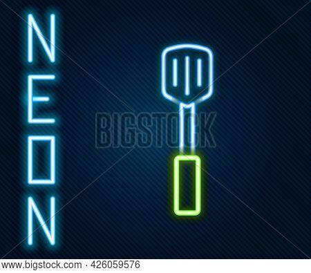 Glowing Neon Line Barbecue Spatula Icon Isolated On Black Background. Kitchen Spatula Icon. Bbq Spat