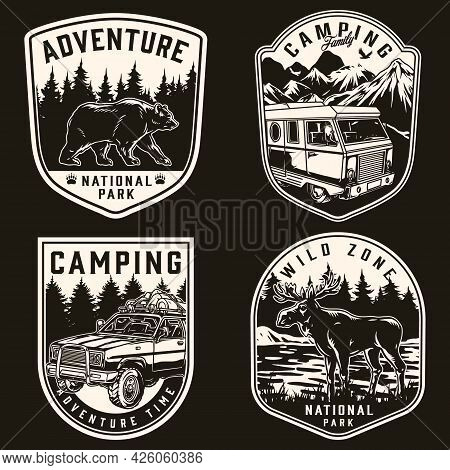 Adventure Time Monochrome Vintage Badges With Walking Bear Moose Motorhome And Travel Car With Touri