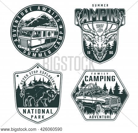 Adventure Time Vintage Monochrome Logos With Travel Car And Bus Deer Head And Bison On Nature Landsc