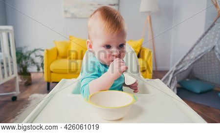 Infant Boy Sitting In Feeding Chair And Sucking Spoon
