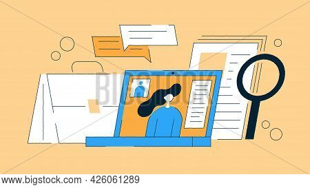 Job Recruiting Vector Flat Illustration. Hand Drawn Contoured Recruiter Workplace With Laptop Distan
