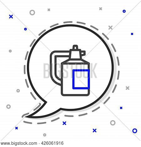 Line Garden Sprayer For Water, Fertilizer, Chemicals Icon Isolated On White Background. Colorful Out