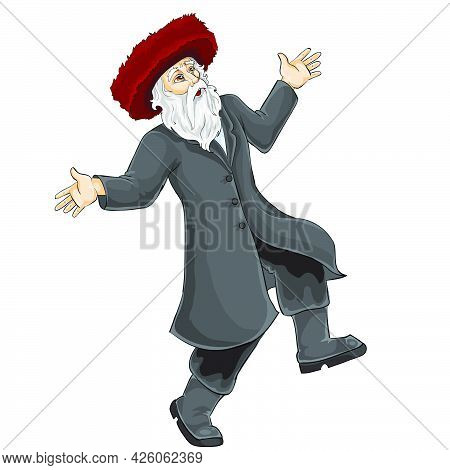 Jew In Hasidic Hat Dancing And Rejoicing At Something, Isolated Object On White Background, Vector I