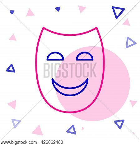 Line Comedy Theatrical Mask Icon Isolated On White Background. Colorful Outline Concept. Vector