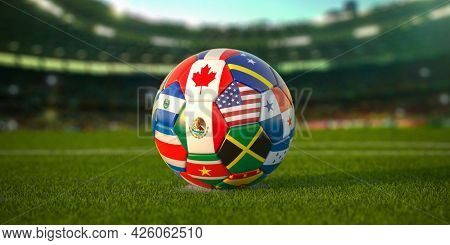 Soccer Football ball with flags of North America countries on the field of football stadium. North America concacaf championship 2021. 3d illustration