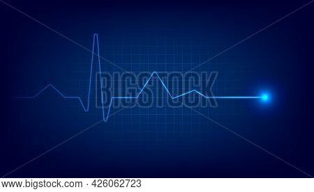 Blue Heart Pulse Monitor With Signal. Heart Beat Cardiogram Background.