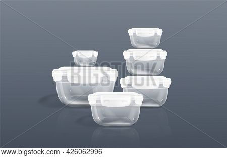 Transparent Plastic Containers, Clear Food Boxes With Lid. Vector Realistic Set Of 3d Empty Square T