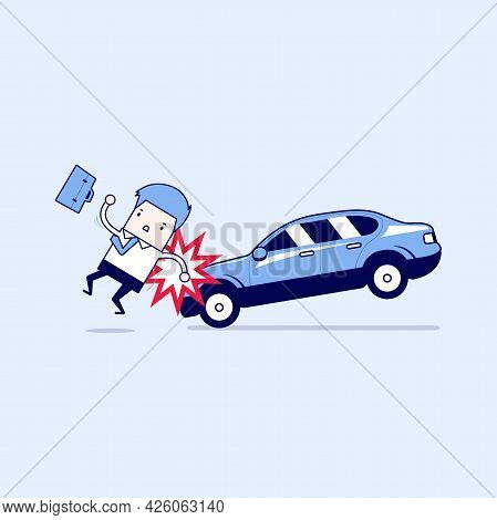 Businessman About To Be Hit By A Car, Road Safety. Cartoon Character Thin Line Style Vector.