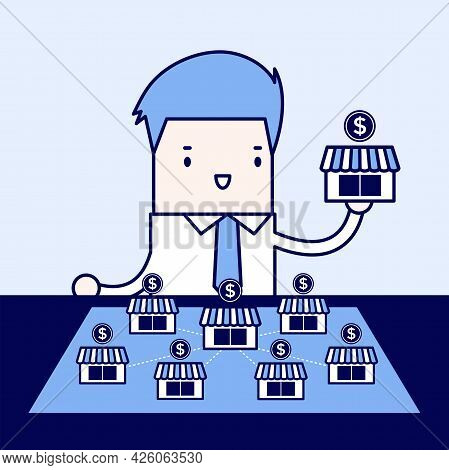 Businessman Want To Expand His Business. Cartoon Character Thin Line Style Vector.