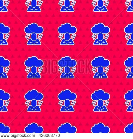Blue Depression And Frustration Icon Isolated Seamless Pattern On Red Background. Man In Depressive