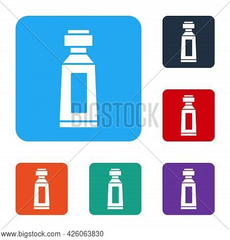 White Tube Of Toothpaste Icon Isolated On White Background. Set Icons In Color Square Buttons. Vecto