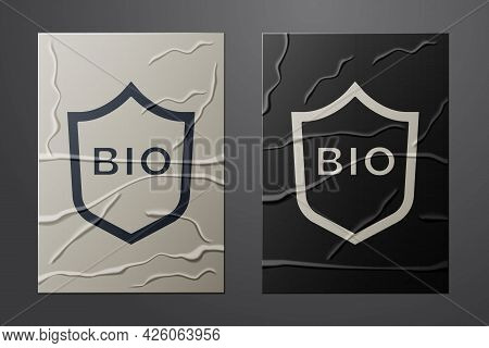 White Shield For Bio Green Healthy Food Icon Isolated On Crumpled Paper Background. Organic Product.