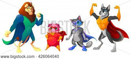 Superhero Animals With Mask And Cape. Cute Characters In Super Hero Costume. Vector Cartoon Set Of S