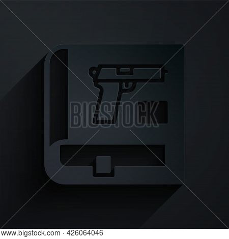 Paper Cut Book With Pistol Or Gun Icon Isolated On Black Background. Police Or Military Handgun. Sma
