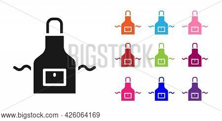 Black Kitchen Apron Icon Isolated On White Background. Chef Uniform For Cooking. Set Icons Colorful.