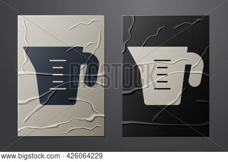 White Measuring Cup To Measure Dry And Liquid Food Icon Isolated On Crumpled Paper Background. Plast
