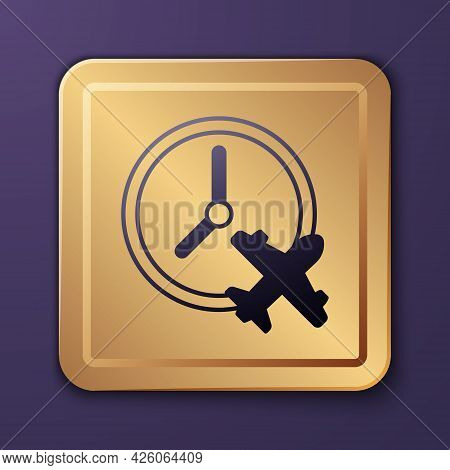 Purple Clock With Airplane Icon Isolated On Purple Background. Designation Of Time Before Departure,