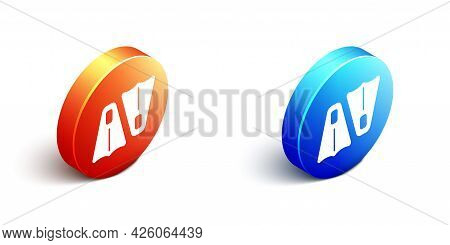 Isometric Rubber Flippers For Swimming Icon Isolated On White Background. Diving Equipment. Extreme