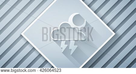 Paper Cut Storm Icon Isolated On Grey Background. Cloud With Lightning And Moon Sign. Weather Icon O
