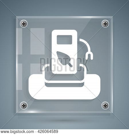 White Petrol Or Gas Station Icon Isolated On Grey Background. Car Fuel Symbol. Gasoline Pump. Square