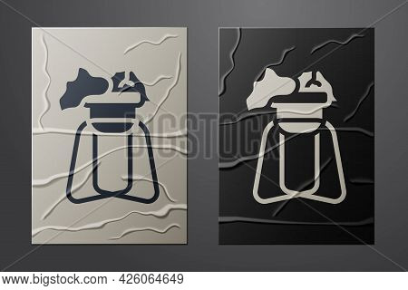 White Potted House Plant On Stand Icon Isolated On Crumpled Paper Background. Plant Growing In A Pot
