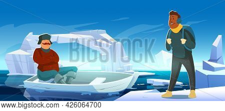 Arctic Landscape With Melting Iceberg, Boat And People On Glacier Floating In Sea. Concept Of Scient
